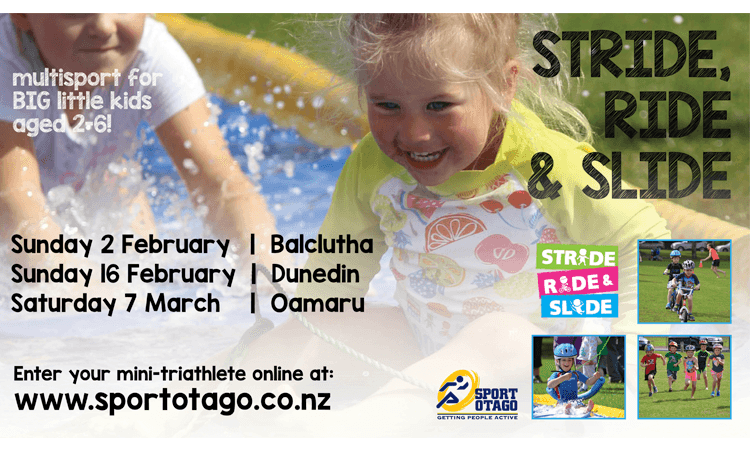 Stride Ride and Slide Oamaru Multisport Event for Kids 2 to 6 years poster